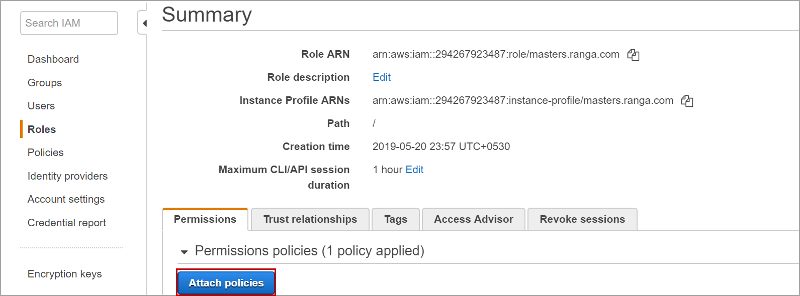 Attach policies in AWS
