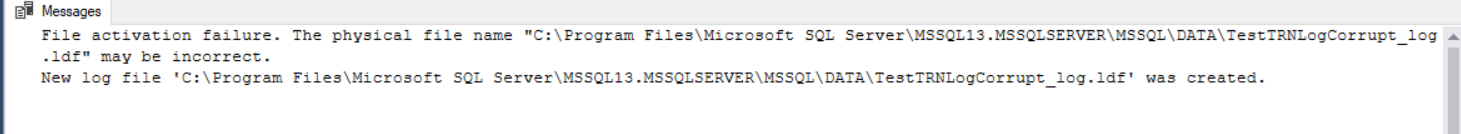 Attach the database with new SQL Server Transaction Log file