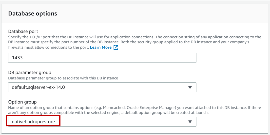 AWS RDS SQL Server - changing option group