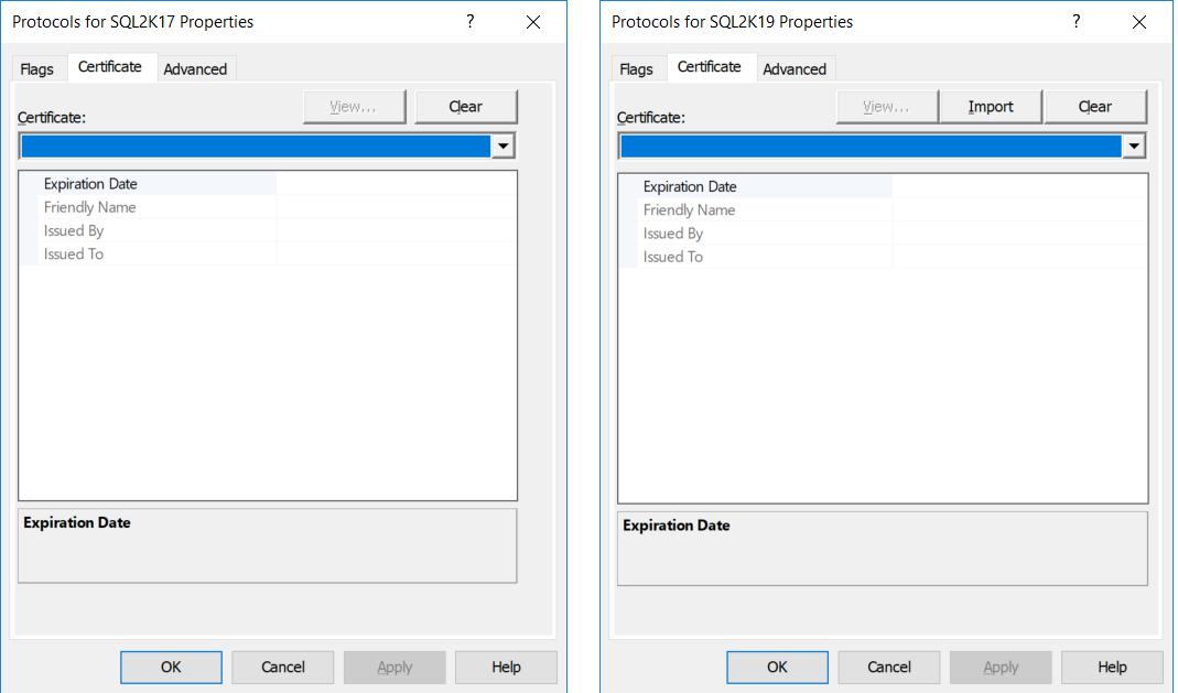 Certificate Management in SQL Server 2019 vs Certificate Management in SQL Server 2017