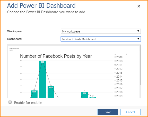 Choose the Power BI Dashboard you want to add