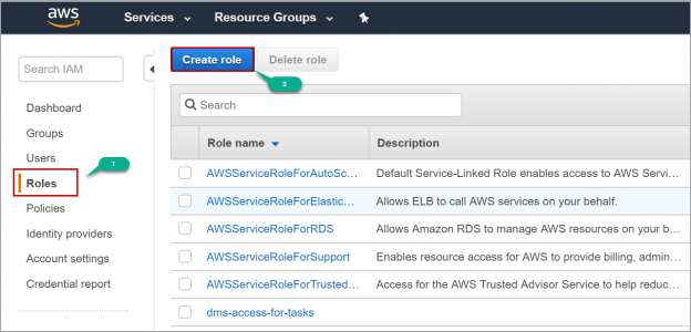 Create role in IAM AWS