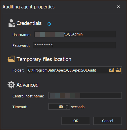 Database auditing tool - Auditing Agent Properties page