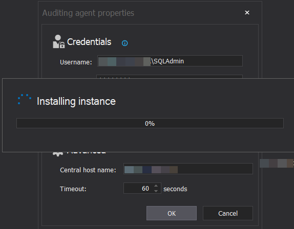 Database auditing tool - Installing Auditing agent components
