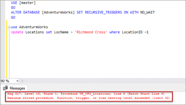 Direct recursive triggers in SQL Server