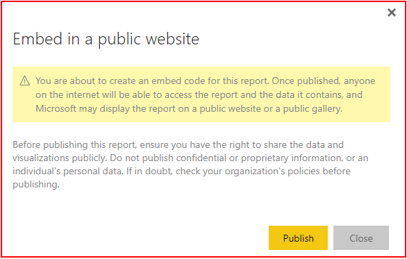 Embed in a public website warning window