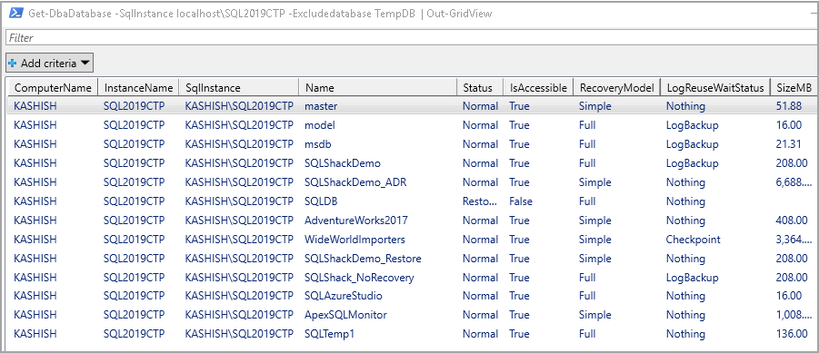 Exclude specific database in the output