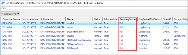 Get a database having a specific recovery model using DBATools Get-DbaDdatabase command
