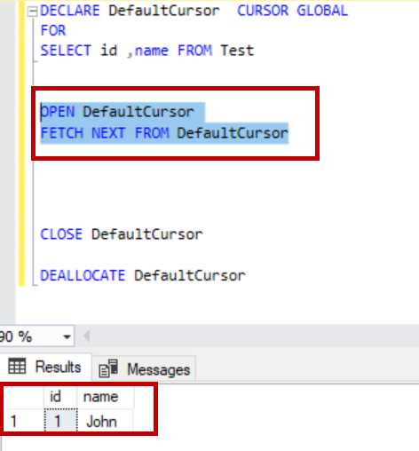 global SQL Server cursor