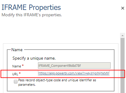 Iframe properties for embedding Power BI content into Dynamics 365 dashboard