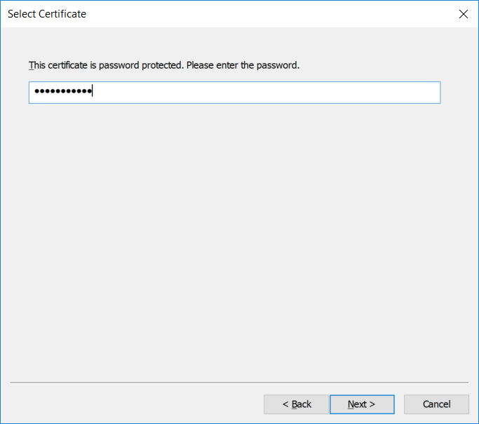 Importing a password-protected PFX certificate  (Step 2)