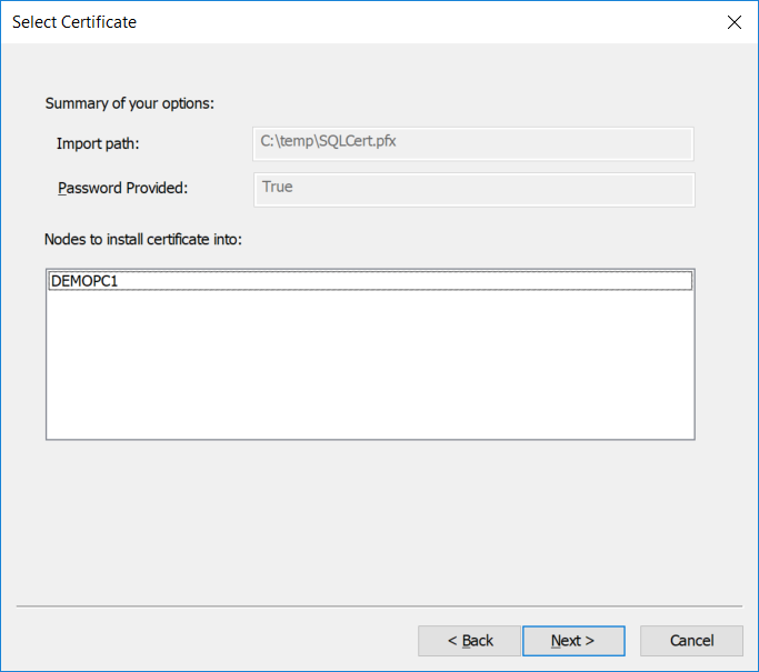 Importing a password-protected PFX certificate (Step 3)