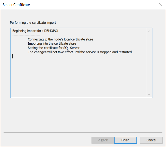 Importing a password-protected PFX certificate (Step 5)