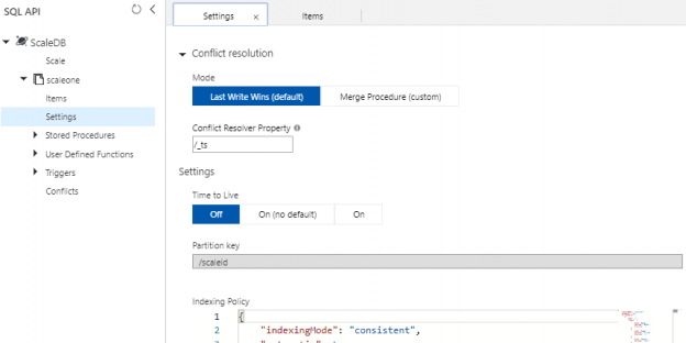 In Settings under our container in our Azure Cosmos DB, we see the options that we'll use for our template