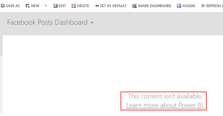 Power BI content isn't available error