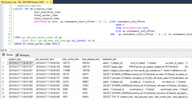 Results of a query used as SQL Server monitoring tool for finding expensive queries