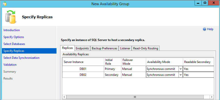 Specify replica, endpoint in a Clusterless availability Groups configuration