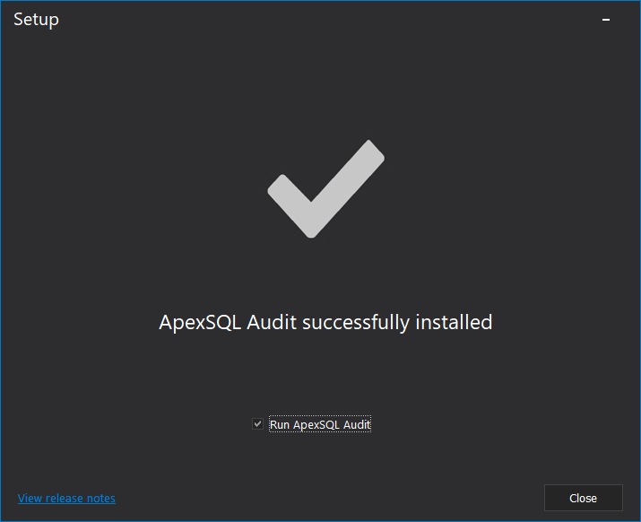 SQL database auditing - Installation wizard successfully