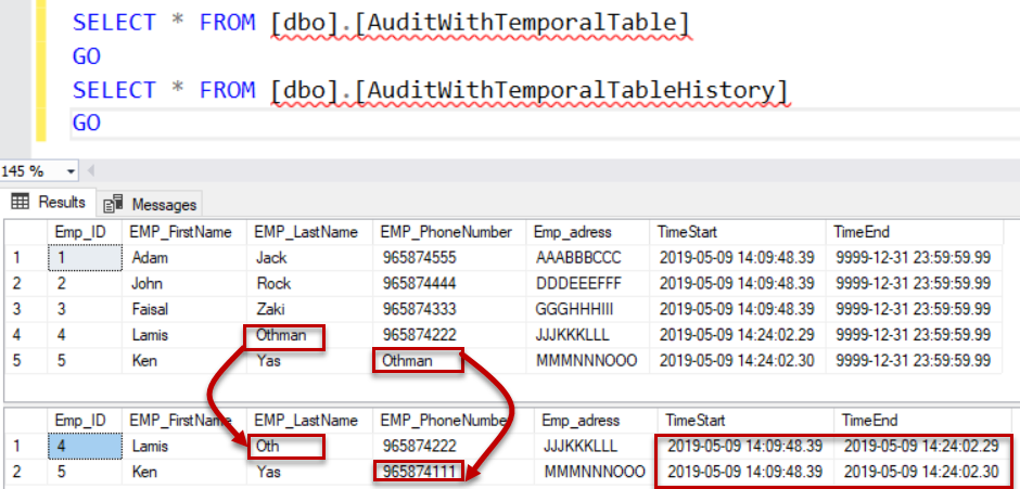 SQL Server audit - Result After Update