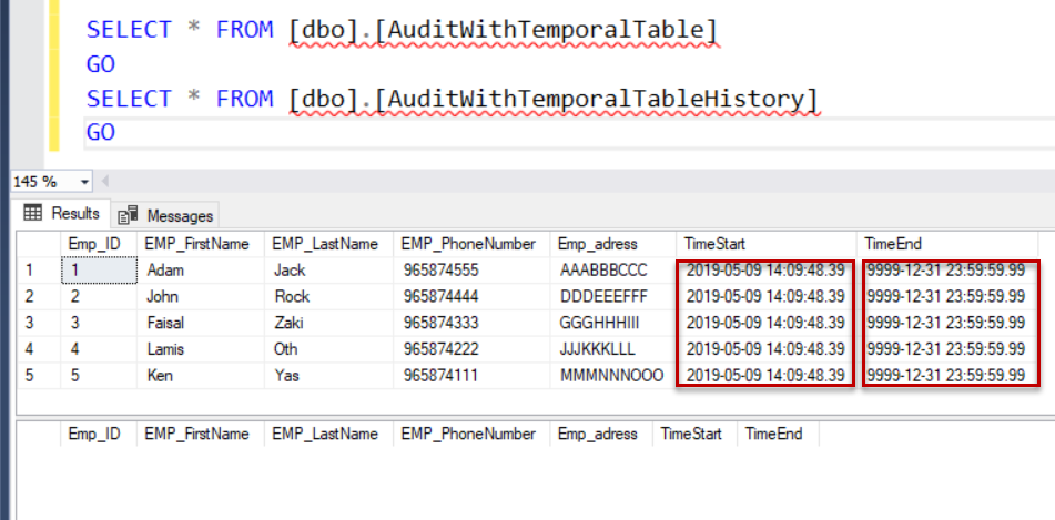 SQL Server audit - ResultAfterInsert