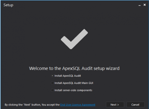 SQL Server database auditing - ApexSQl Audit installation Wizard