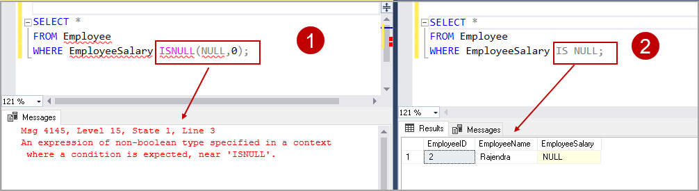 SQL Server ISNULL with IS NULL
