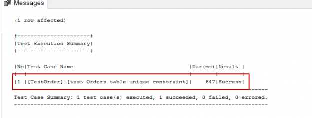 SQL unit testing - tSQLt framework tsqlt.ExpectException result image