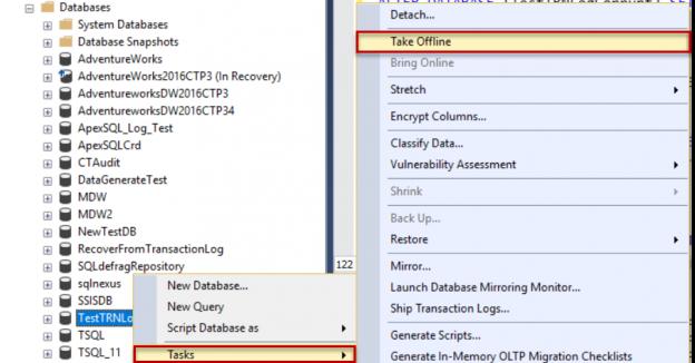 Take database offline