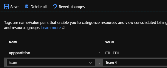 We can also add tags without scripts by selecting the tag option under the Azure asset.