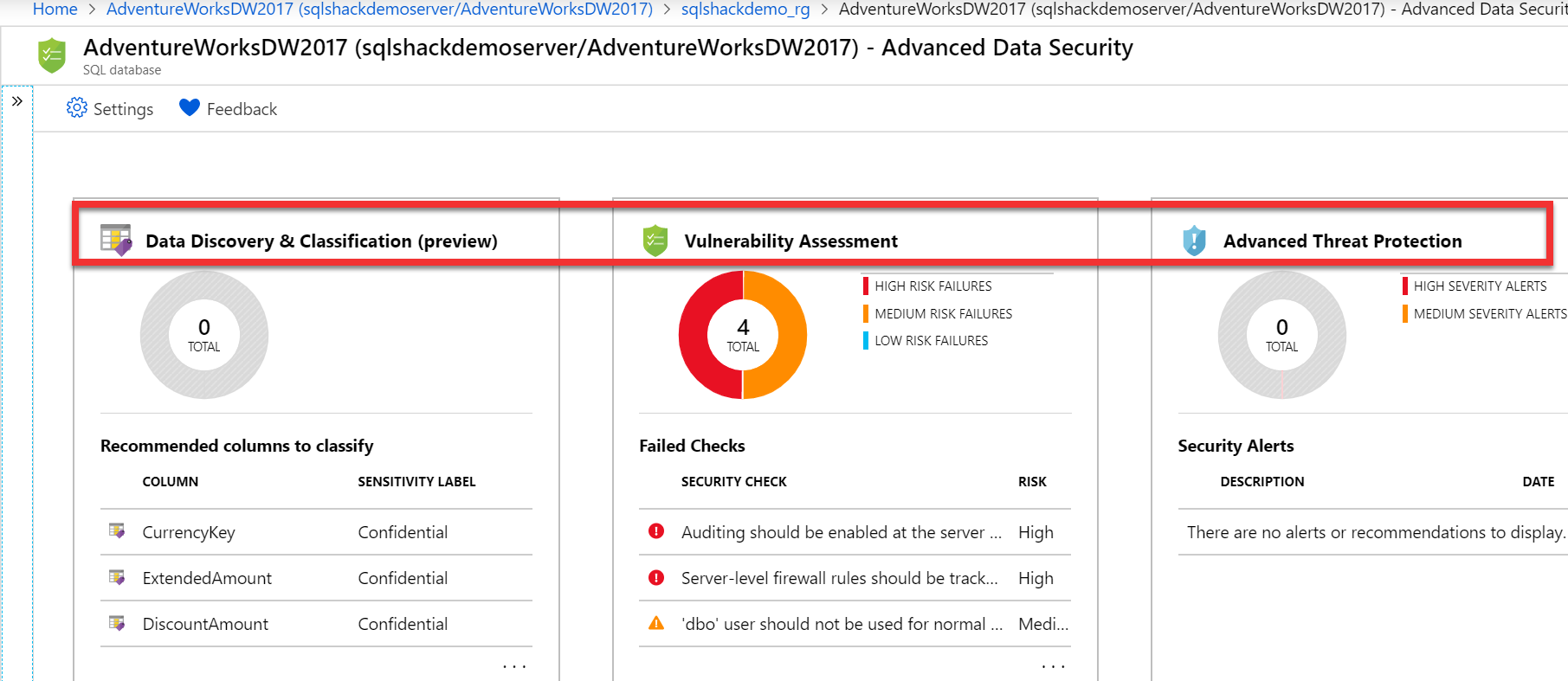 Advanced Data Security enabled in Azure SQL Database.