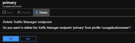 Alternatively, we can remove the traffic manager endpoint and re-add it