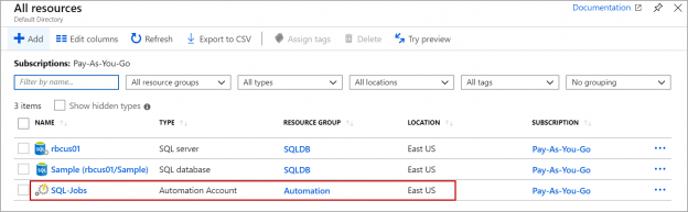 Azure SQL - Automation account
