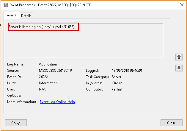 check SQL Server ports in Windows Event viewer