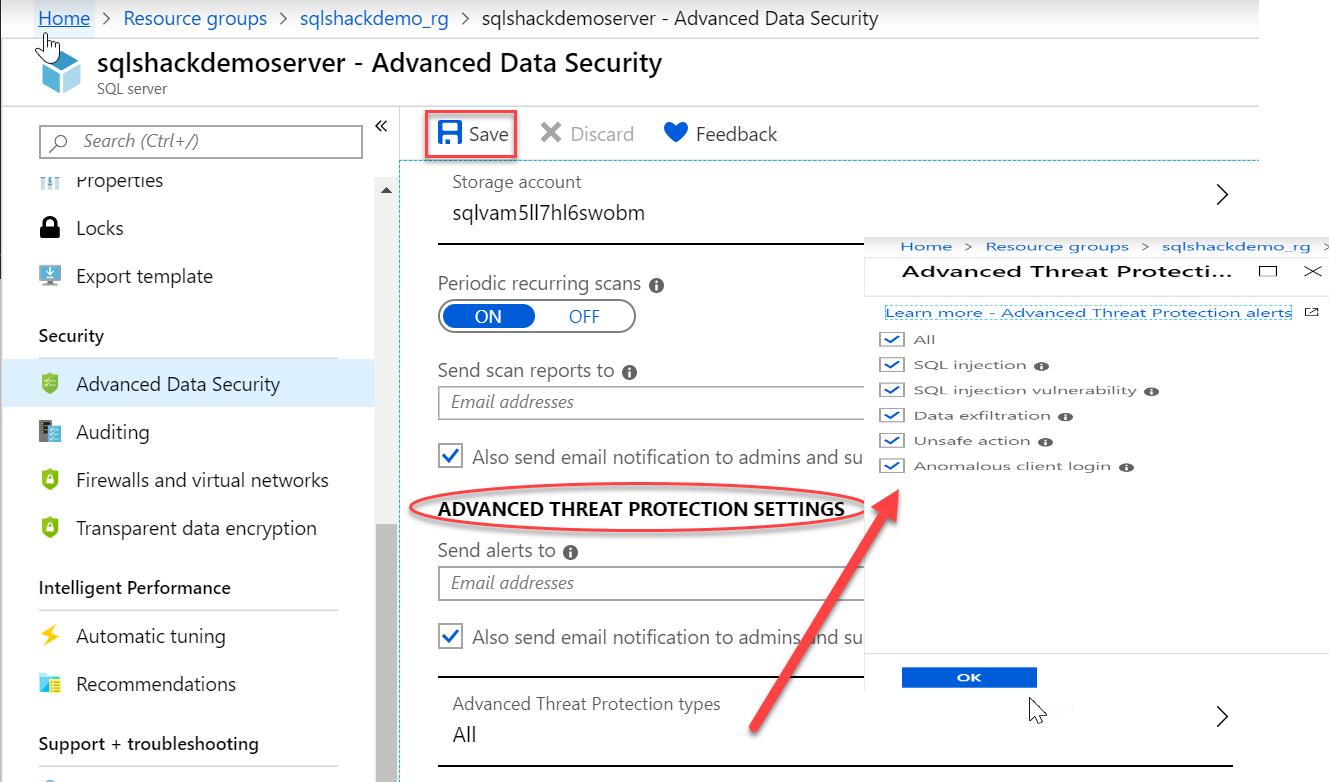 Vulnerability Assessment and Advanced Threat Protection in Azure SQL