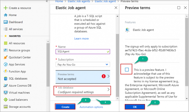 creating elastic job agent in Azure