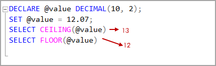 Decimal data type value with SQL CEILING and SQL Floor rounding functions