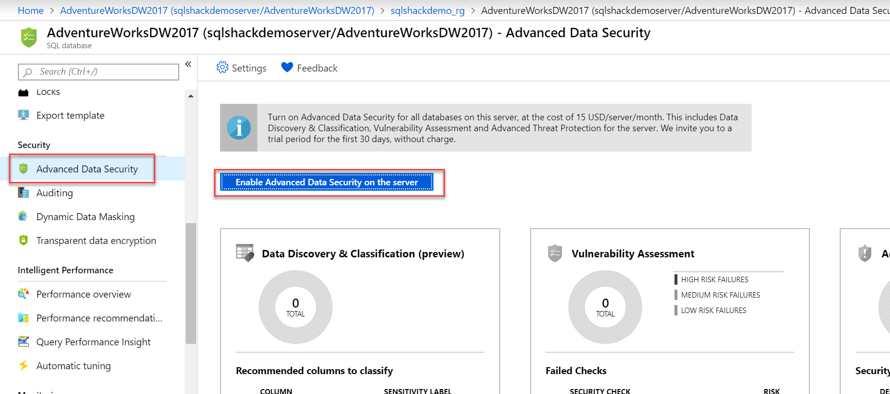 Enable Advanced Data Security on the Server in Azure Portal.