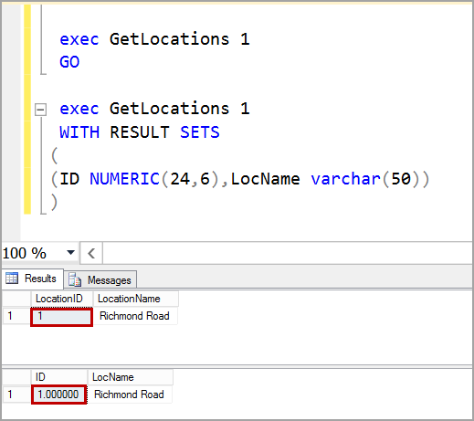 EXEC SQL example with result sets