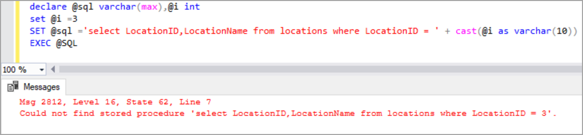 EXEC SQL with variable example