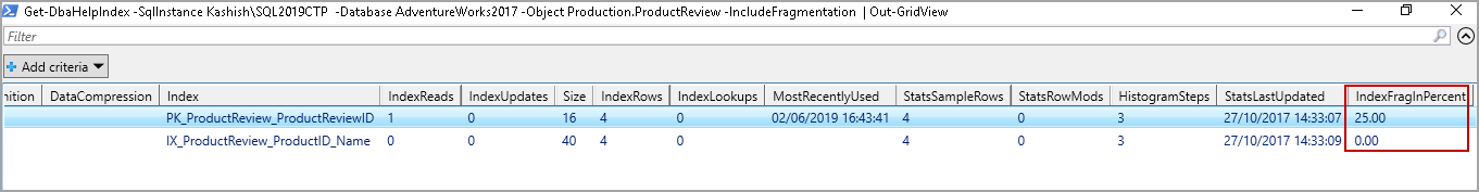 Index information in a specified instance for a particular object along with fragmentation details