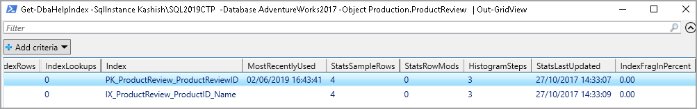 Index information in a specified instance for a particular object along with fragmentation details output