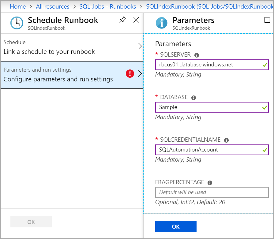 input parameters to schedule runbook in Azure Automation