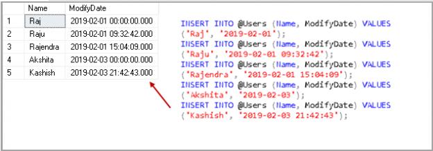 insert sample data