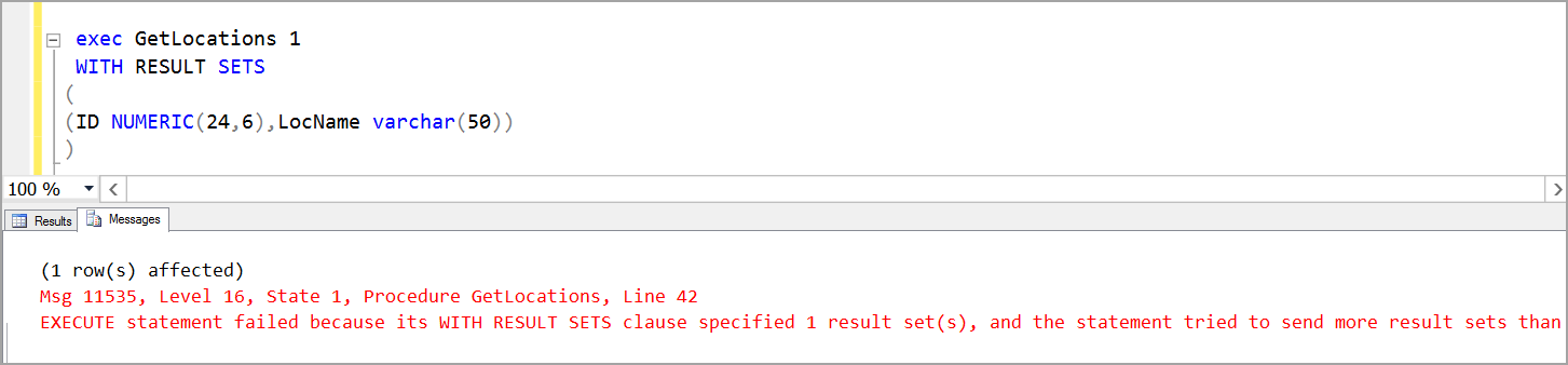 multiple result set in EXECUTE statement