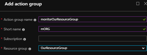 Notice how our naming follows the pattern of our resource group naming - this makes our Azure cost organization easier