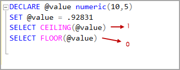 Numeric data type value with CEILING and Floor rounding functions