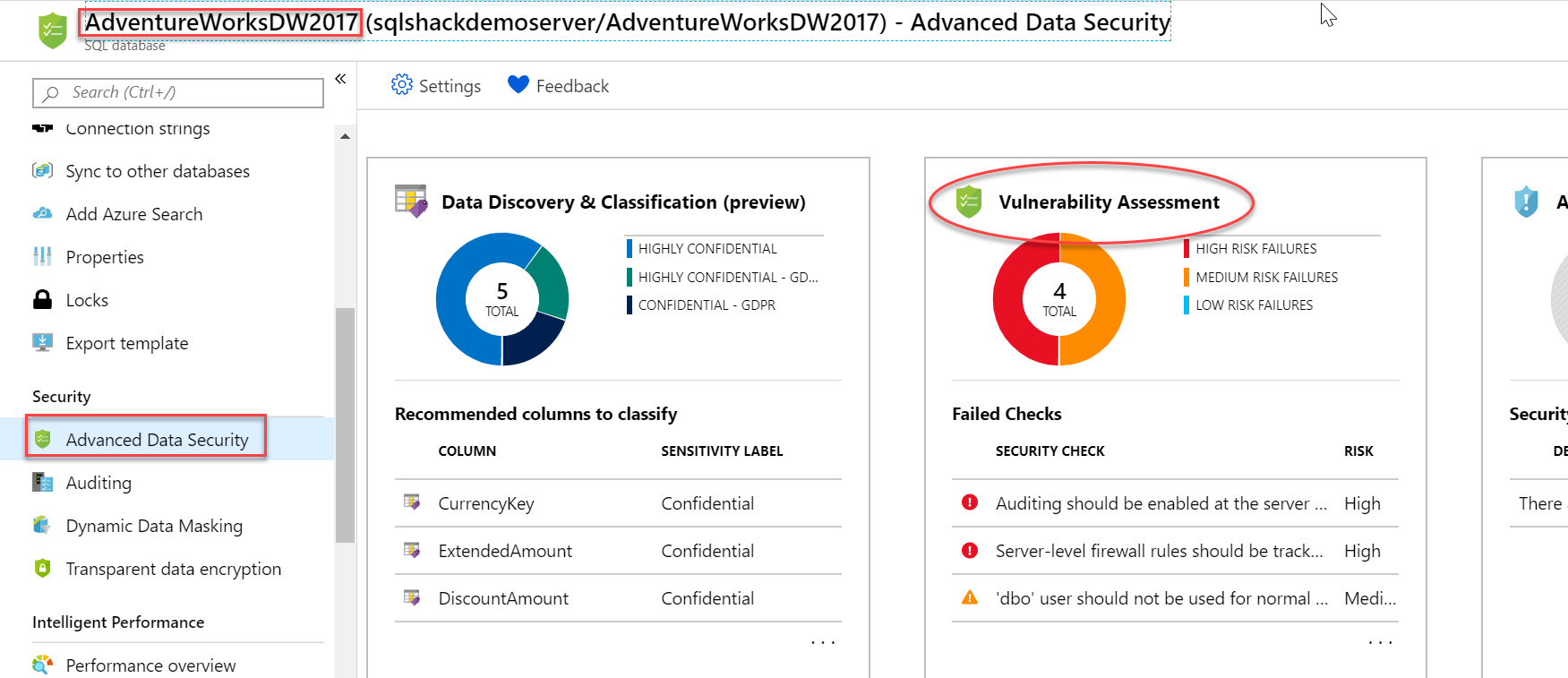 Open Vulnerability Assessment tile in Azure SQL Database.