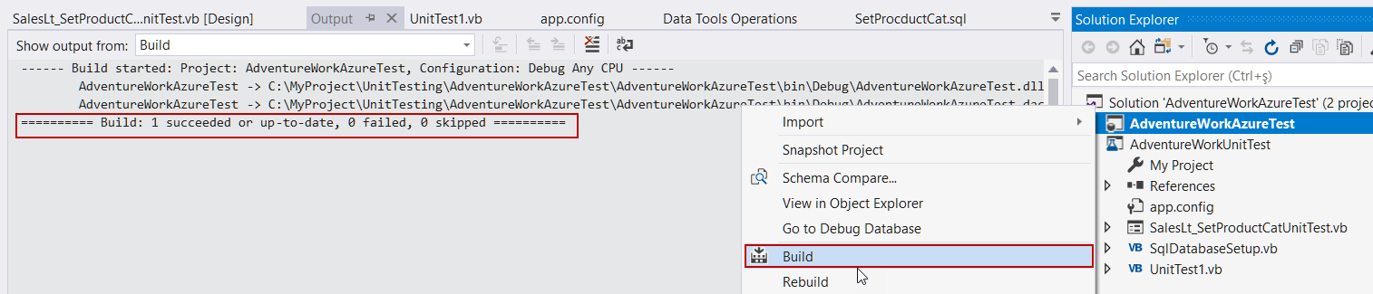 SQL Unit Testing with SSDT (SQL Server Data Tools)