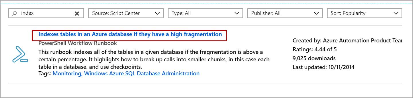 Azure SQL - Index tables using Azure Automation