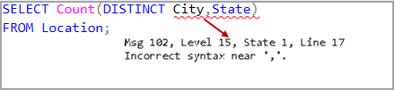 SQL Count Distinct function incorrect syntax error